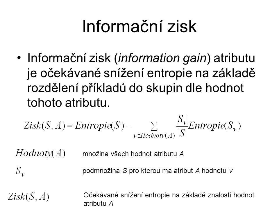 Informační zisk Informační zisk (information gain) atributu je očekávané snížení entropie na základě rozdělení příkladů do skupin dle hodnot tohoto atributu.