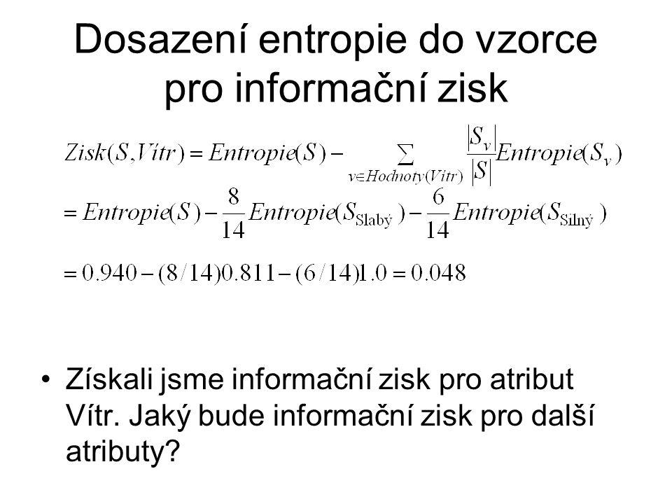 Dosazení entropie do vzorce pro informační zisk Získali jsme informační zisk pro atribut Vítr.