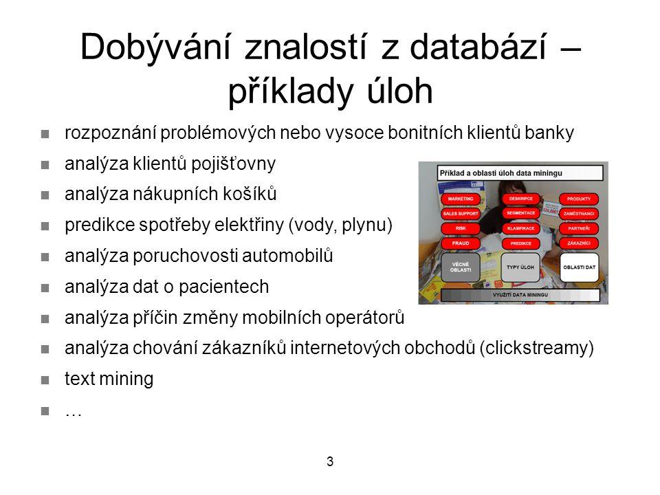 3 rozpoznání problémových nebo vysoce bonitních klientů banky analýza klientů pojišťovny analýza nákupních košíků predikce spotřeby elektřiny (vody, plynu) analýza poruchovosti automobilů analýza dat o pacientech analýza příčin změny mobilních operátorů analýza chování zákazníků internetových obchodů (clickstreamy) text mining … Dobývání znalostí z databází – příklady úloh