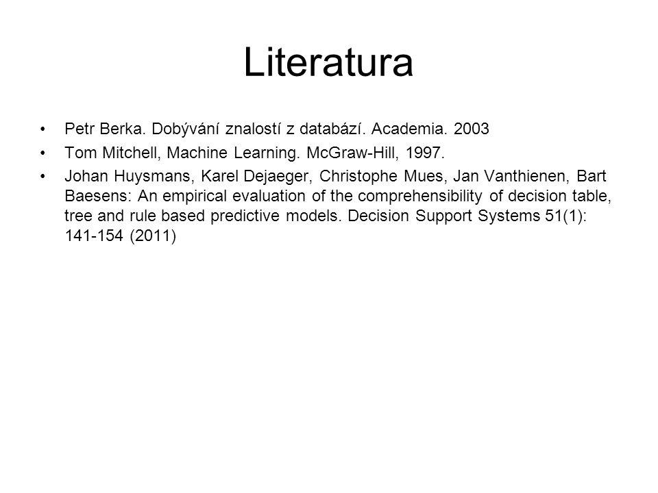Literatura Petr Berka.Dobývání znalostí z databází.