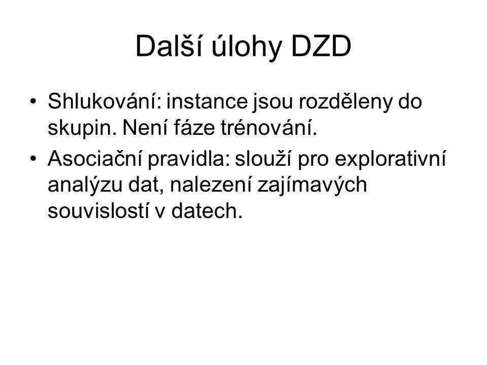 Další úlohy DZD Shlukování: instance jsou rozděleny do skupin.