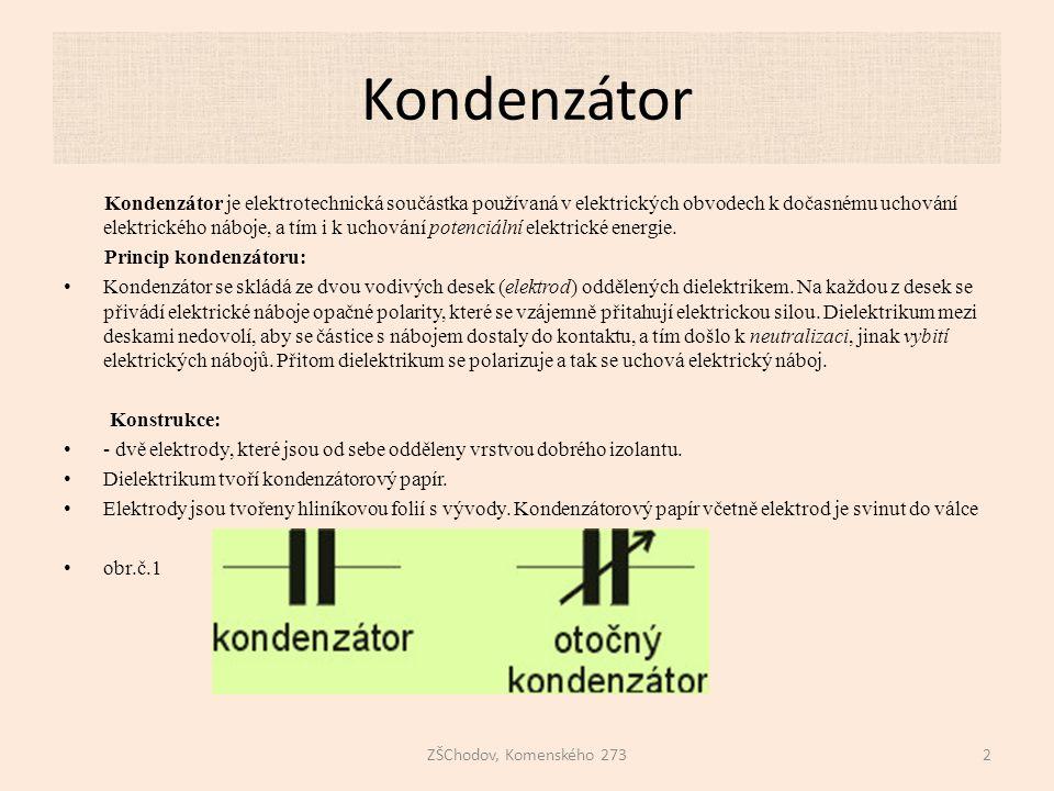 Kondenzátor ZŠChodov, Komenského 2732 Kondenzátor je elektrotechnická součástka používaná v elektrických obvodech k dočasnému uchování elektrického náboje, a tím i k uchování potenciální elektrické energie.