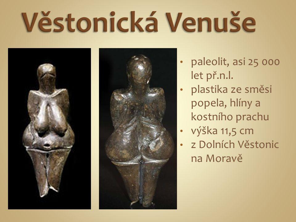 paleolit, asi 25 000 let př.n.l. plastika ze směsi popela, hlíny a kostního prachu výška 11,5 cm z Dolních Věstonic na Moravě