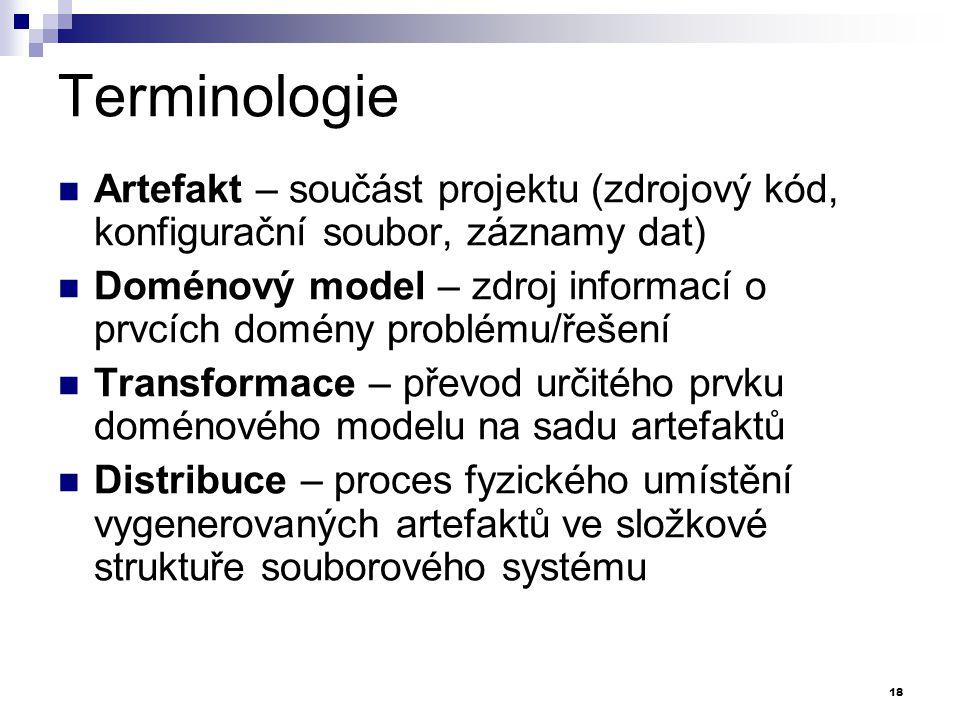 Terminologie Artefakt – součást projektu (zdrojový kód, konfigurační soubor, záznamy dat) Doménový model – zdroj informací o prvcích domény problému/ř