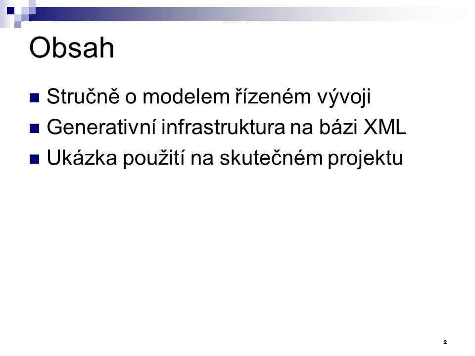 Závěr Stručně o modelem řízeném vývoji Generativní infrastruktura na bázi XML Ukázka použití na skutečném projektu Dotazy.