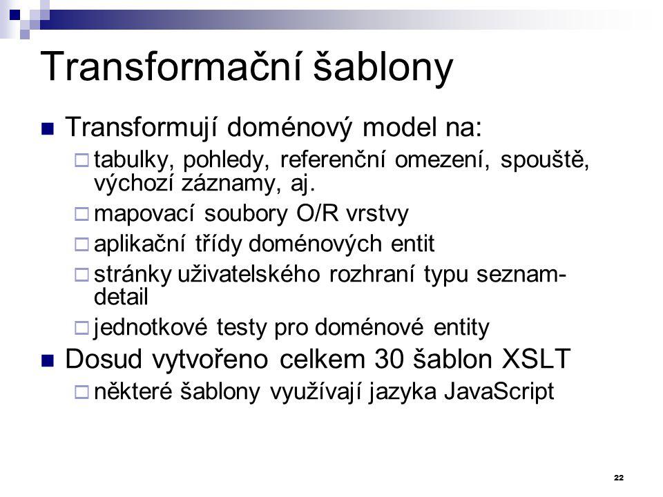 Transformační šablony Transformují doménový model na:  tabulky, pohledy, referenční omezení, spouště, výchozí záznamy, aj.  mapovací soubory O/R vrs
