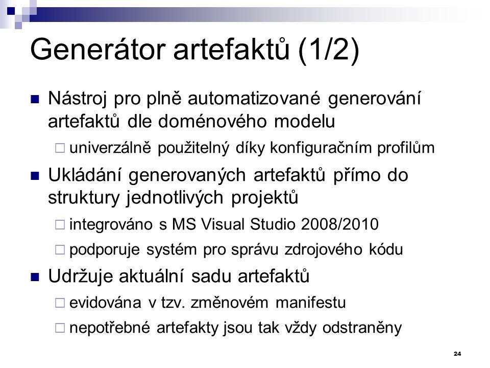Generátor artefaktů (1/2) Nástroj pro plně automatizované generování artefaktů dle doménového modelu  univerzálně použitelný díky konfiguračním profi