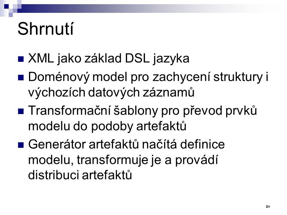 Shrnutí XML jako základ DSL jazyka Doménový model pro zachycení struktury i výchozích datových záznamů Transformační šablony pro převod prvků modelu d