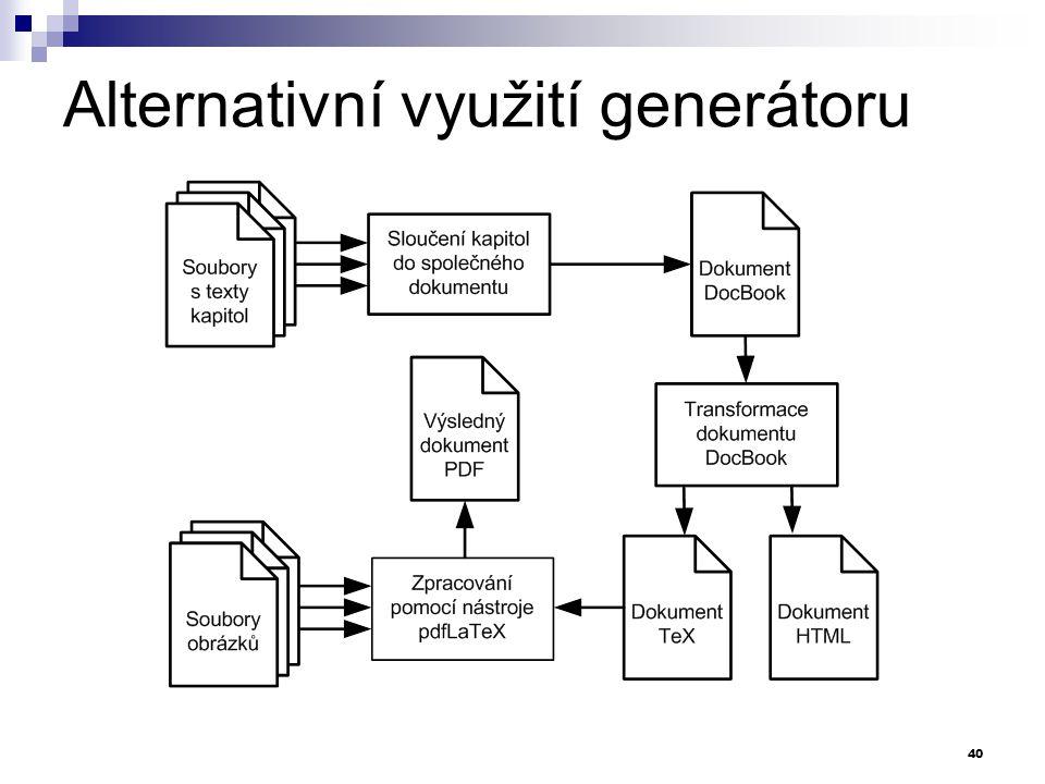 Alternativní využití generátoru 40