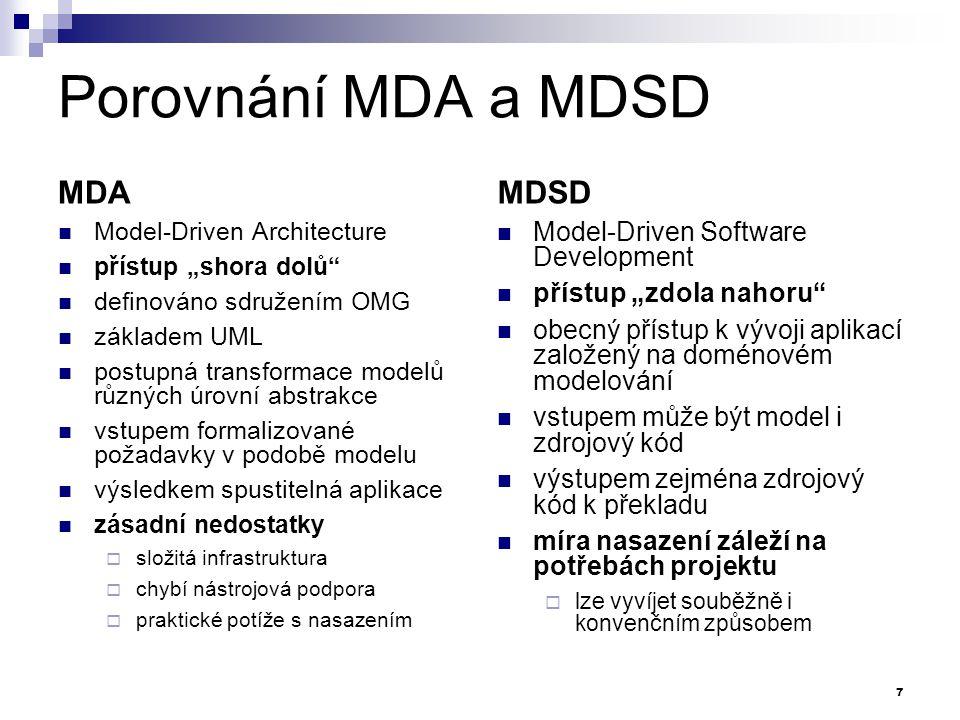 """Porovnání MDA a MDSD MDA Model-Driven Architecture přístup """"shora dolů"""" definováno sdružením OMG základem UML postupná transformace modelů různých úro"""