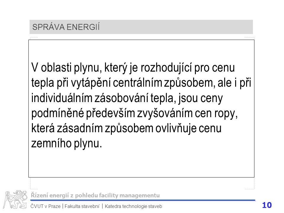 10 ČVUT v Praze Fakulta stavební Katedra technologie staveb II SPRÁVA ENERGIÍ V oblasti plynu, který je rozhodující pro cenu tepla při vytápění centrá
