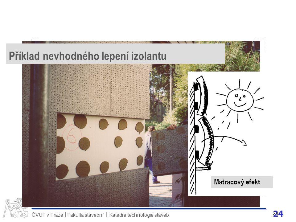 24 ČVUT v Praze Fakulta stavební Katedra technologie staveb II 24 Matracový efekt Příklad nevhodného lepení izolantu