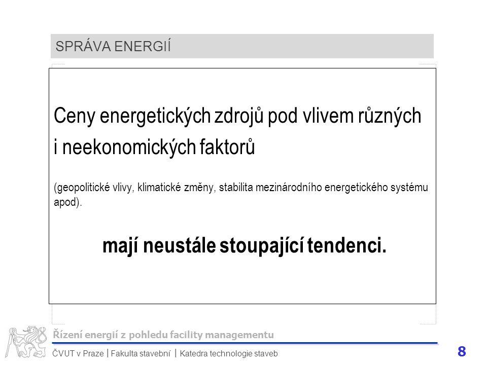 9 ČVUT v Praze Fakulta stavební Katedra technologie staveb II SPRÁVA ENERGIÍ Ekonomika České republiky je ve velké míře závislá na dovozu, a tak ceny energetických vstupů jsou závislé na cenách komodit světových trhů.