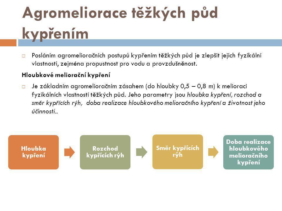 Agromeliorace těžkých půd kypřením  Posláním agromelioračních postupů kypřením těžkých půd je zlepšit jejich fyzikální vlastnosti, zejména propustnost pro vodu a provzdušněnost.