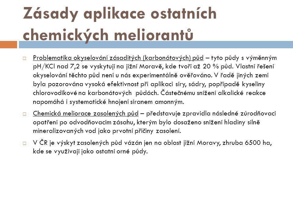 Zásady aplikace ostatních chemických meliorantů  Problematika okyselování zásaditých (karbonátových) půd – tyto půdy s výměnným pH/KCl nad 7,2 se vys