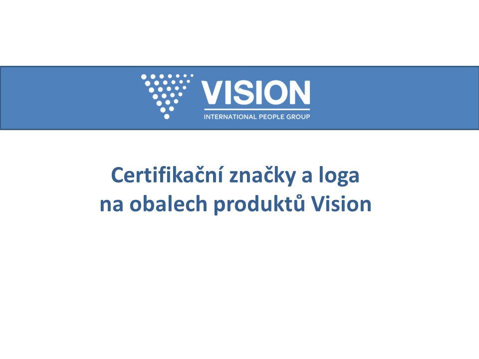 Certifikační značky a loga na obalech produktů Vision