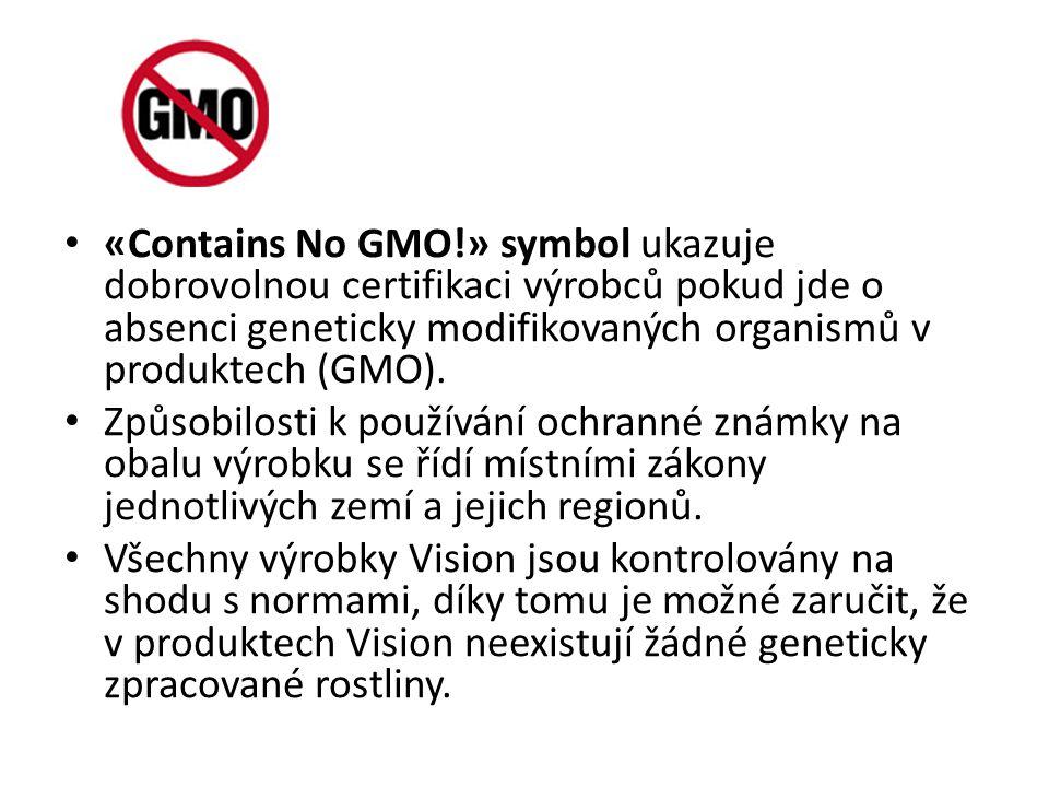 «Contains No GMO!» symbol ukazuje dobrovolnou certifikaci výrobců pokud jde o absenci geneticky modifikovaných organismů v produktech (GMO). Způsobilo