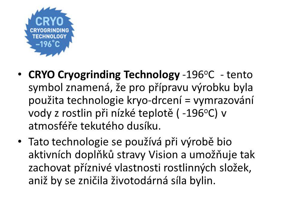 CRYO Cryogrinding Technology -196 o C - tento symbol znamená, že pro přípravu výrobku byla použita technologie kryo-drcení = vymrazování vody z rostli