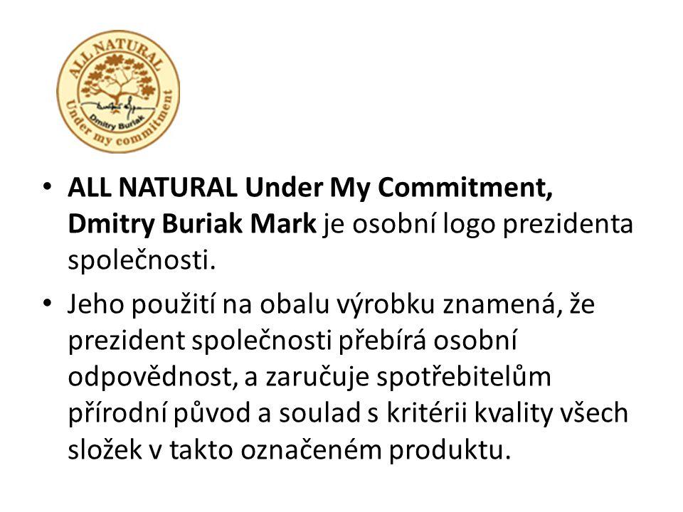 ALL NATURAL Under My Commitment, Dmitry Buriak Mark je osobní logo prezidenta společnosti. Jeho použití na obalu výrobku znamená, že prezident společn