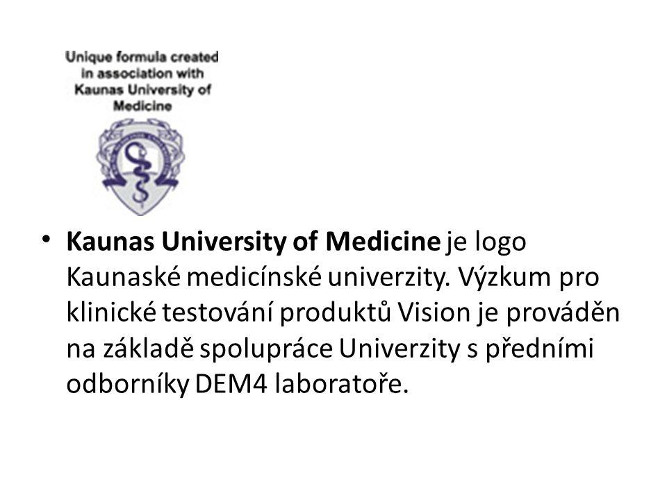 Kaunas University of Medicine je logo Kaunaské medicínské univerzity. Výzkum pro klinické testování produktů Vision je prováděn na základě spolupráce