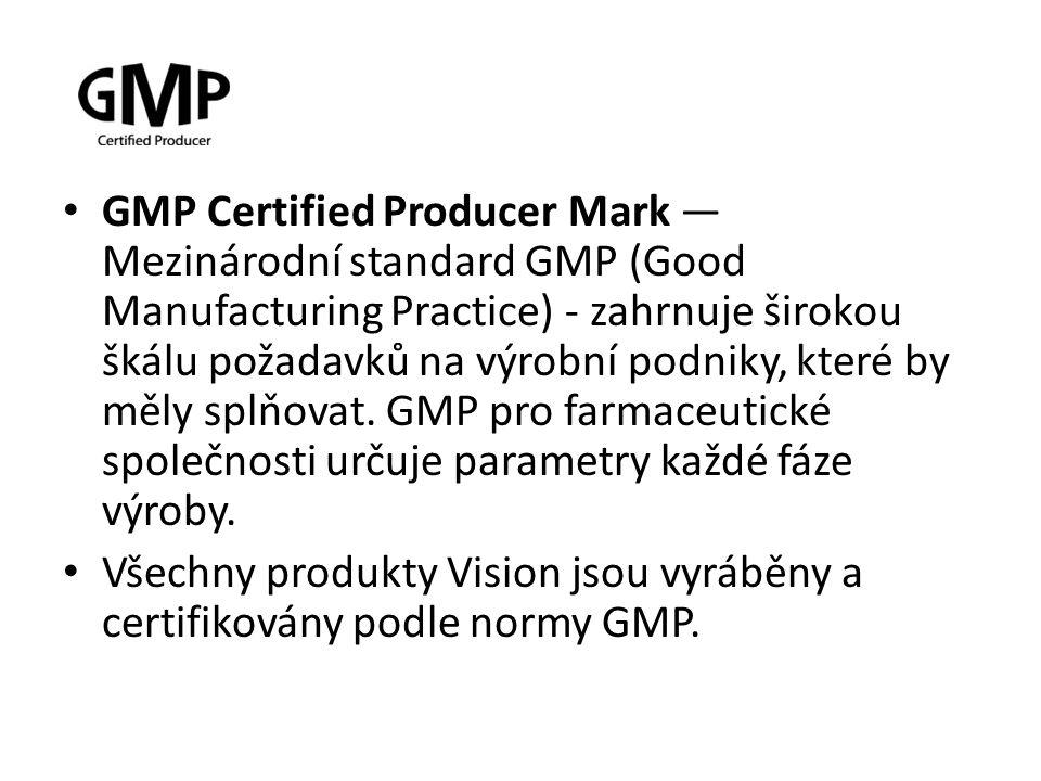 GMP Certified Producer Mark — Mezinárodní standard GMP (Good Manufacturing Practice) - zahrnuje širokou škálu požadavků na výrobní podniky, které by m