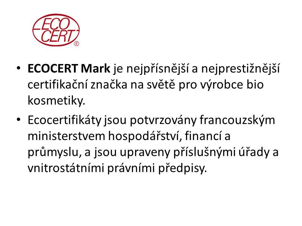 ECOCERT Mark je nejpřísnější a nejprestižnější certifikační značka na světě pro výrobce bio kosmetiky. Ecocertifikáty jsou potvrzovány francouzským mi