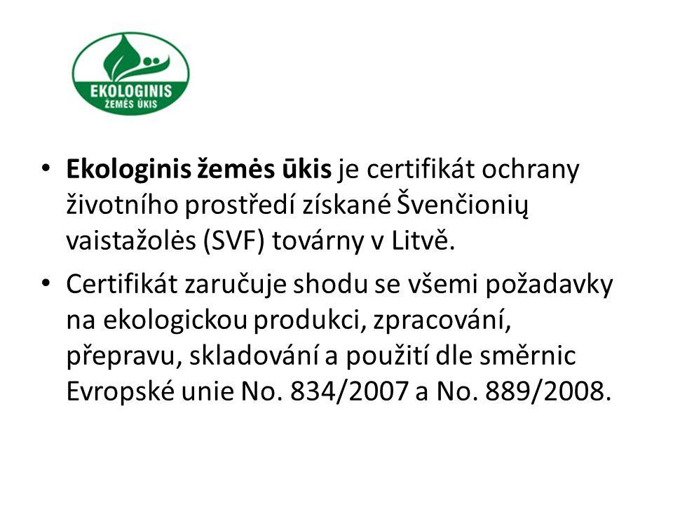 Ekologinis žemės ūkis je certifikát ochrany životního prostředí získané Švenčionių vaistažolės (SVF) továrny v Litvě. Certifikát zaručuje shodu se vše