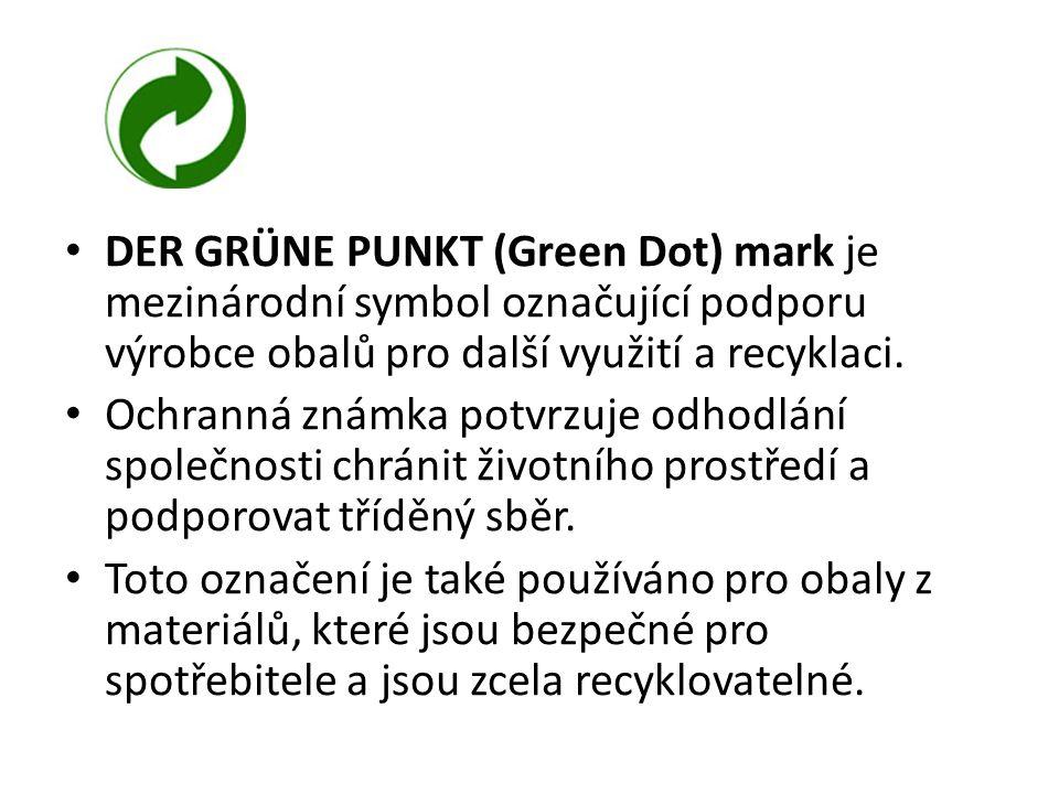 DER GRÜNE PUNKT (Green Dot) mark je mezinárodní symbol označující podporu výrobce obalů pro další využití a recyklaci. Ochranná známka potvrzuje odhod