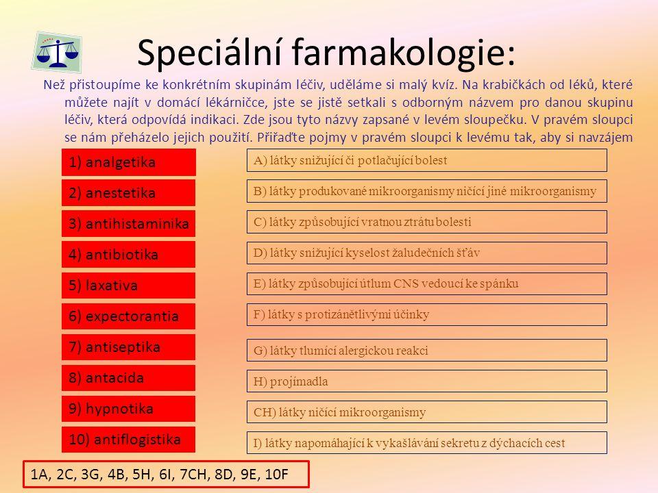 Speciální farmakologie: Než přistoupíme ke konkrétním skupinám léčiv, uděláme si malý kvíz. Na krabičkách od léků, které můžete najít v domácí lékárni