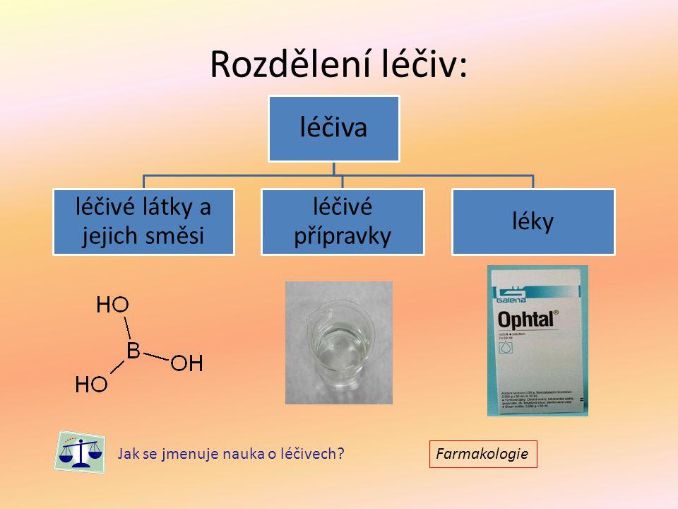 Rozdělení léčiv: léčiva léčivé látky a jejich směsi léčivé přípravky léky Jak se jmenuje nauka o léčivech? Farmakologie