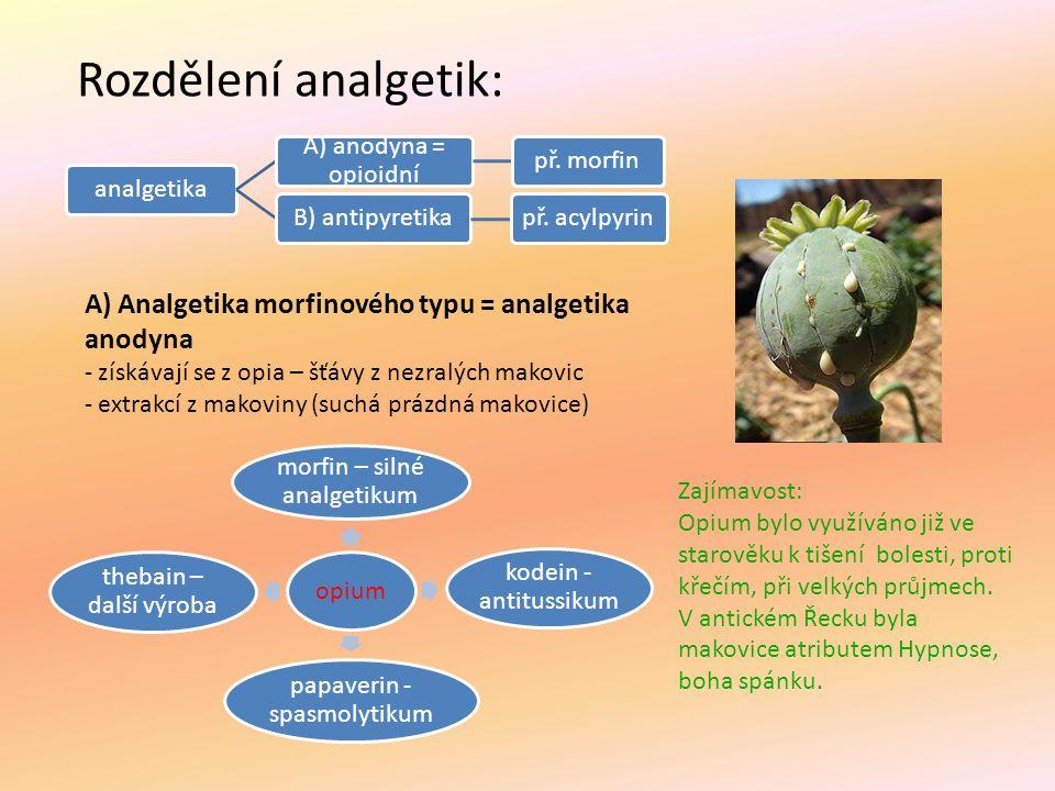 Rozdělení analgetik: analgetika A) anodyna = opioidní př. morfinB) antipyretikapř. acylpyrin A) Analgetika morfinového typu = analgetika anodyna - zís