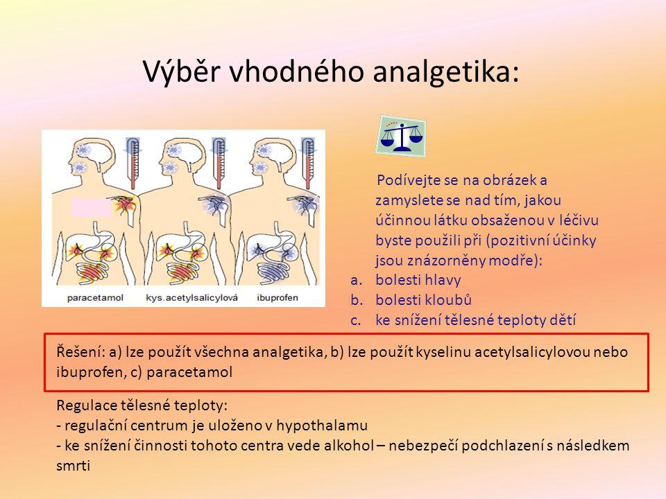 Výběr vhodného analgetika: Podívejte se na obrázek a zamyslete se nad tím, jakou účinnou látku obsaženou v léčivu byste použili při (pozitivní účinky