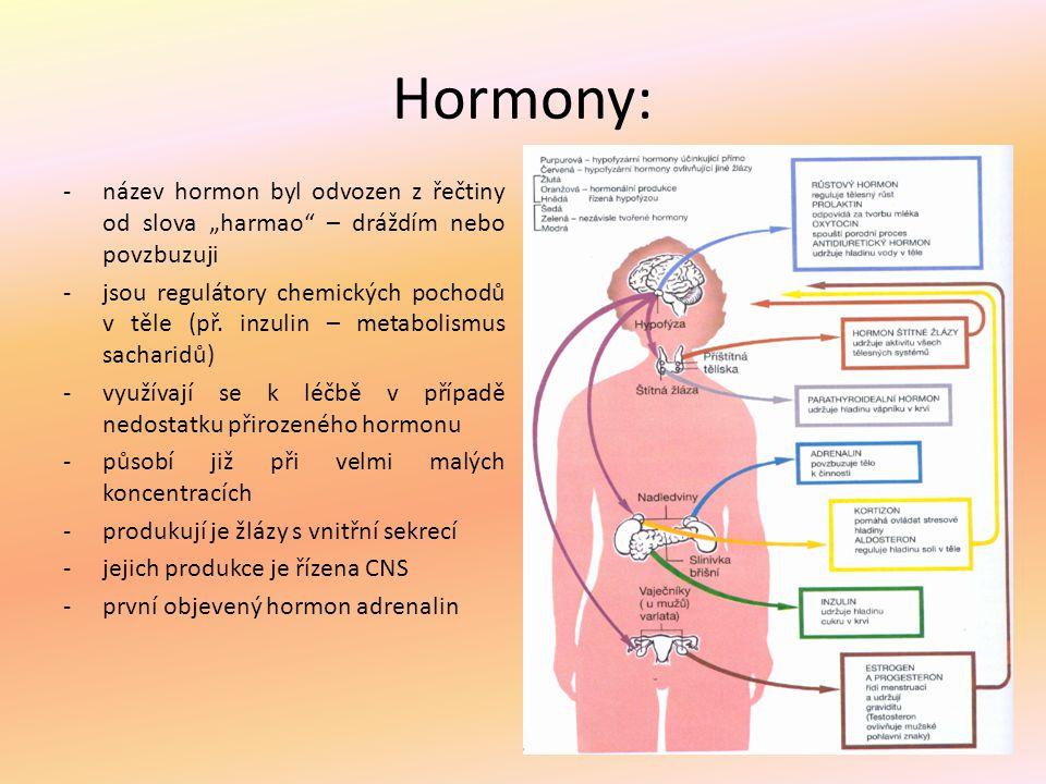 """Hormony: -název hormon byl odvozen z řečtiny od slova """"harmao"""" – dráždím nebo povzbuzuji -jsou regulátory chemických pochodů v těle (př. inzulin – met"""
