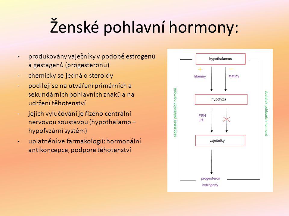 Ženské pohlavní hormony: -produkovány vaječníky v podobě estrogenů a gestagenů (progesteronu) -chemicky se jedná o steroidy -podílejí se na utváření p