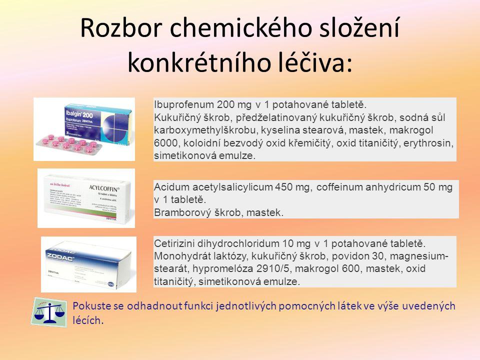 Rozbor chemického složení konkrétního léčiva: Ibuprofenum 200 mg v 1 potahované tabletě. Kukuřičný škrob, předželatinovaný kukuřičný škrob, sodná sůl