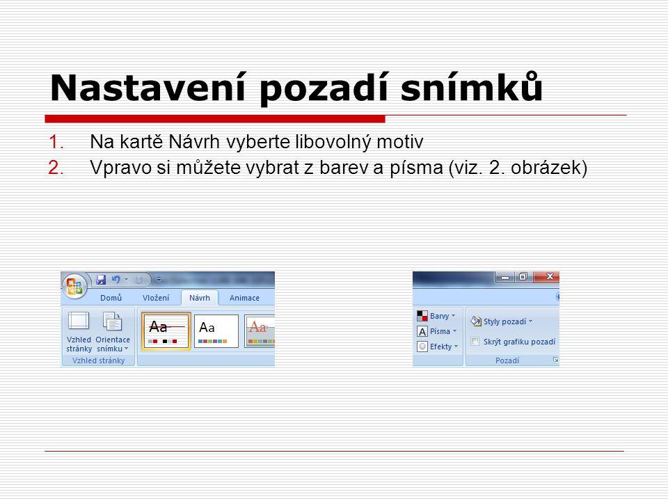 Nastavení pozadí snímků 1.Na kartě Návrh vyberte libovolný motiv 2.Vpravo si můžete vybrat z barev a písma (viz.