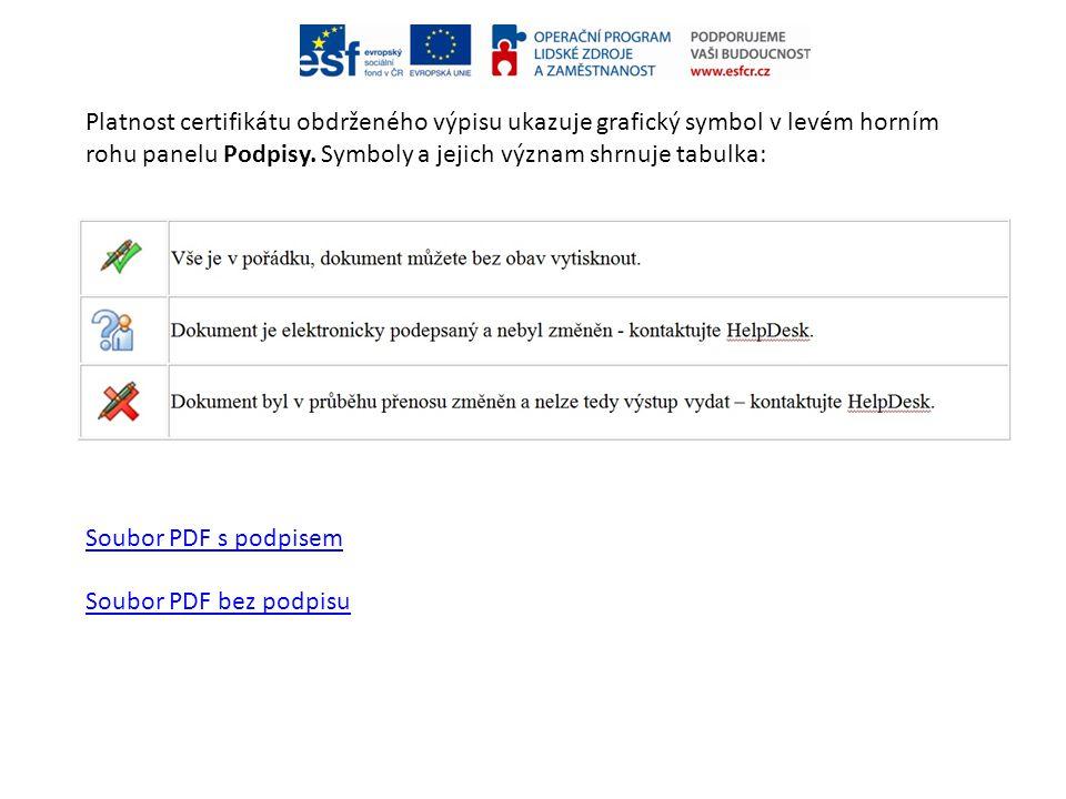 Platnost certifikátu obdrženého výpisu ukazuje grafický symbol v levém horním rohu panelu Podpisy. Symboly a jejich význam shrnuje tabulka: Soubor PDF