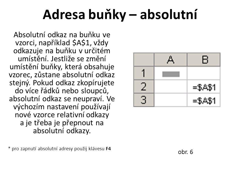 Adresa buňky – absolutní Absolutní odkaz na buňku ve vzorci, například $A$1, vždy odkazuje na buňku v určitém umístění.