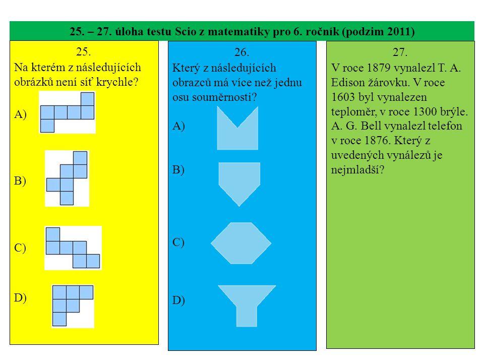25. – 27. úloha testu Scio z matematiky pro 6. ročník (podzim 2011) 25. Na kterém z následujících obrázků není síť krychle? A) B) C) D) 26. Který z ná