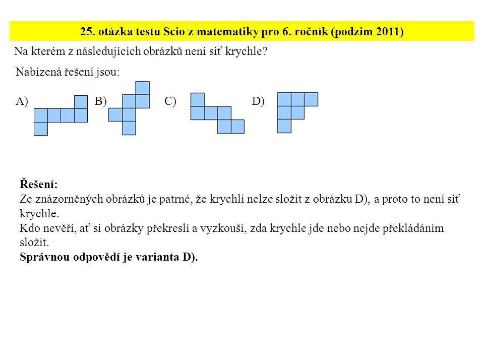Na kterém z následujících obrázků není síť krychle? 25. otázka testu Scio z matematiky pro 6. ročník (podzim 2011) Řešení: Ze znázorněných obrázků je