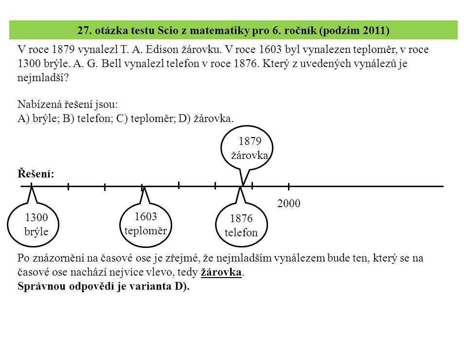 28.– 30. úloha testu Scio z matematiky pro 6. ročník (podzim 2011) 28.