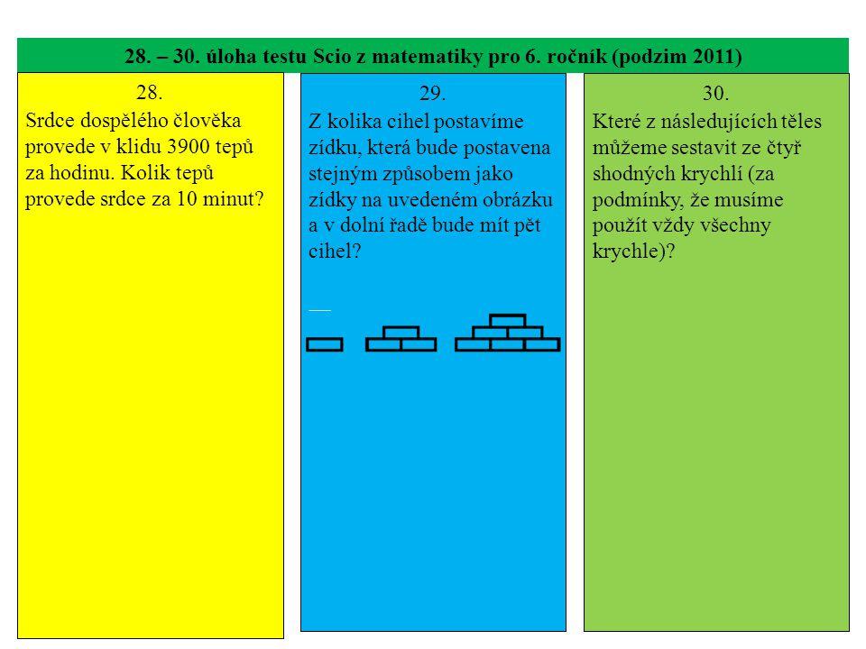 28. – 30. úloha testu Scio z matematiky pro 6. ročník (podzim 2011) 28. Srdce dospělého člověka provede v klidu 3900 tepů za hodinu. Kolik tepů proved