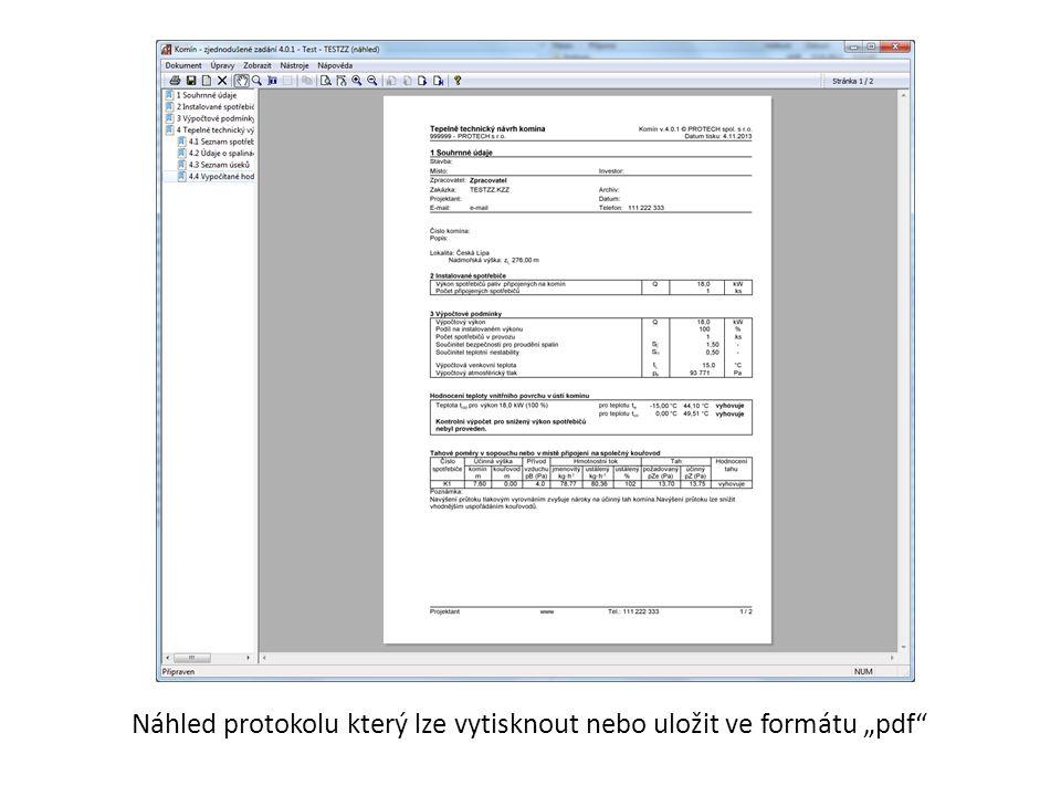 """Náhled protokolu který lze vytisknout nebo uložit ve formátu """"pdf"""