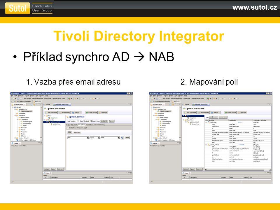 www.sutol.cz Příklad synchro AD  NAB 1. Vazba přes email adresu 2. Mapování polí Tivoli Directory Integrator