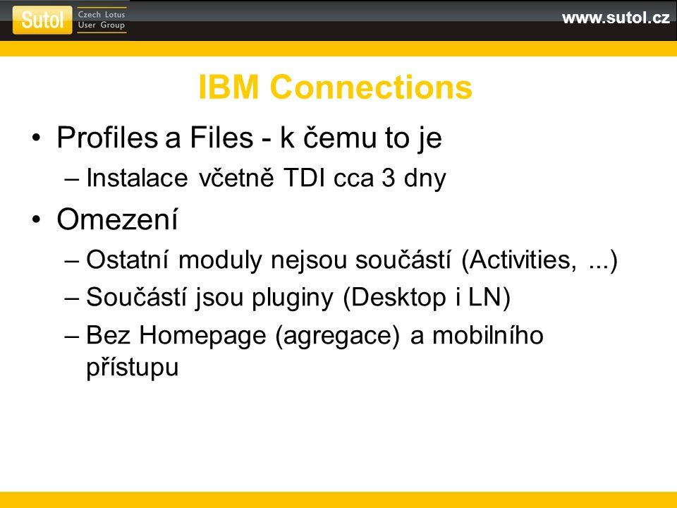 www.sutol.cz Profiles a Files - k čemu to je –Instalace včetně TDI cca 3 dny Omezení –Ostatní moduly nejsou součástí (Activities,...) –Součástí jsou pluginy (Desktop i LN) –Bez Homepage (agregace) a mobilního přístupu IBM Connections