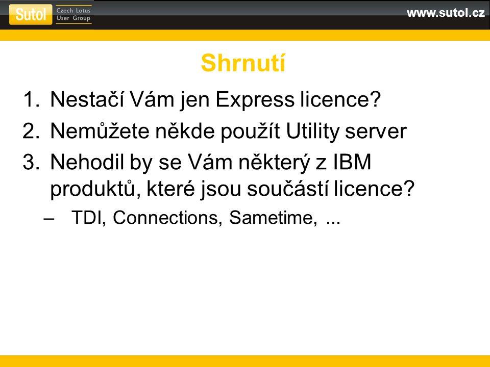 www.sutol.cz 1.Nestačí Vám jen Express licence? 2.Nemůžete někde použít Utility server 3.Nehodil by se Vám některý z IBM produktů, které jsou součástí