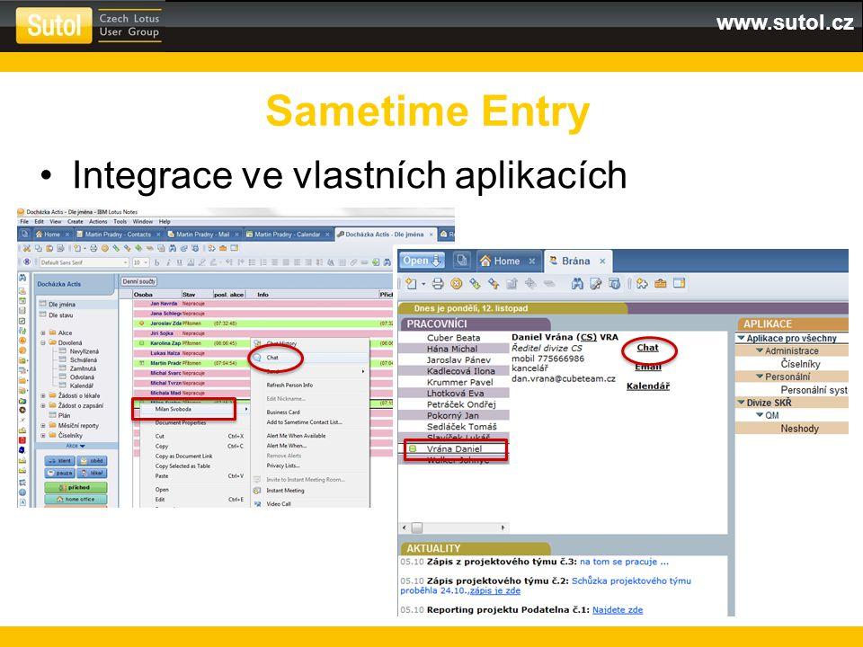 www.sutol.cz Integrace ve vlastních aplikacích Sametime Entry