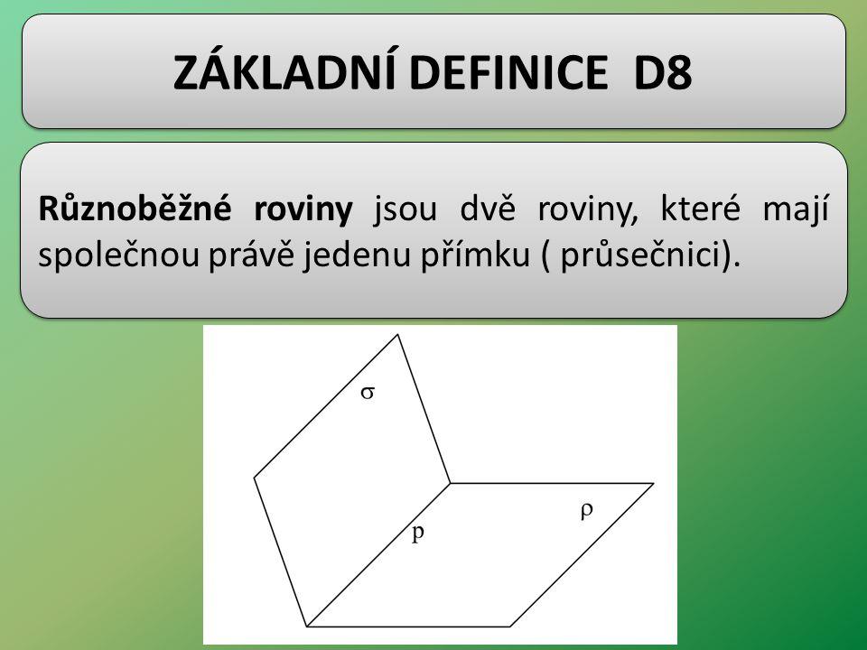 ZÁKLADNÍ DEFINICE D8 Různoběžné roviny jsou dvě roviny, které mají společnou právě jedenu přímku ( průsečnici).