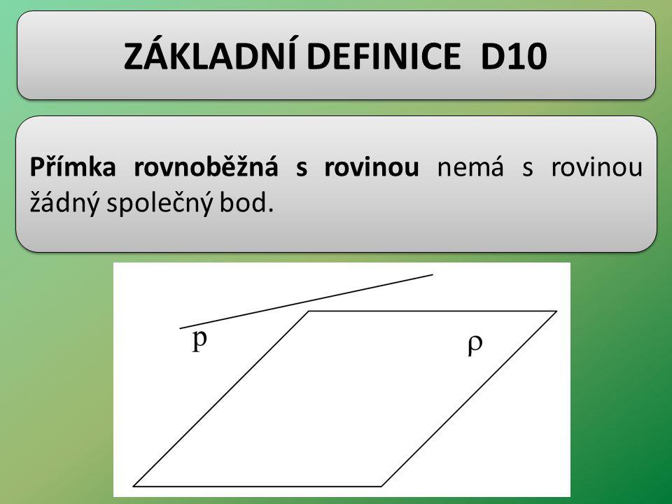 ZÁKLADNÍ DEFINICE D10 Přímka rovnoběžná s rovinou nemá s rovinou žádný společný bod.