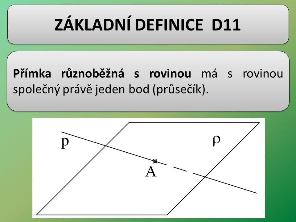 ZÁKLADNÍ DEFINICE D11 Přímka různoběžná s rovinou má s rovinou společný právě jeden bod (průsečík).